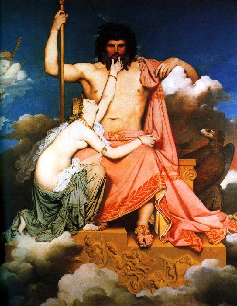 Jupiter and Thetis by Jean-Auguste Dominique Ingres, Musée Granet, Aix-en-Provence. via Wikimedia (Public Domain)