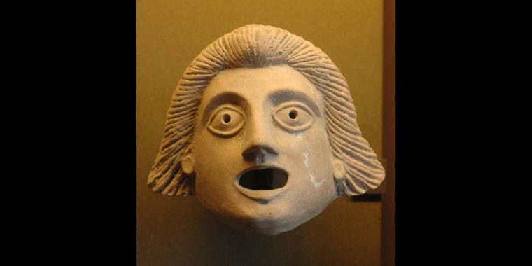 Greek mask (person), Louvre Museum.  Photo By Marie-Lan Nguyen - Own work, Public Domain
